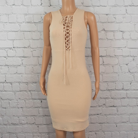 Forever 21 Dresses & Skirts - Nude lace up bodycon midi dress